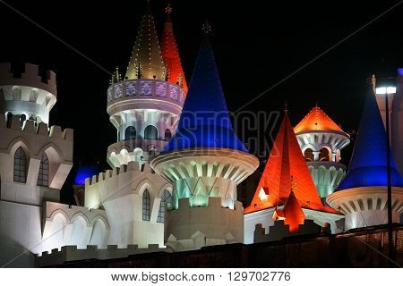 LAS VEGAS, USA - DECEMBER 23: The colorful towers and battlements of the casino Excalibur at the Las Vegas Boulevard in the night of December 23, 2015 in Las Vegas.