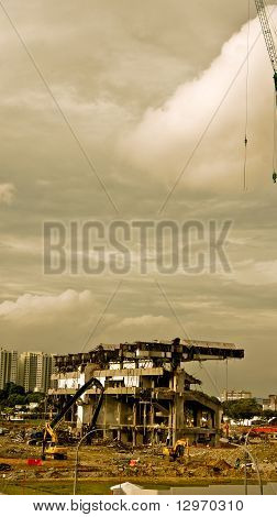Wreckage of demolished building