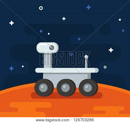 Mars research rover. Flat cartoon vehicle on planet surface.
