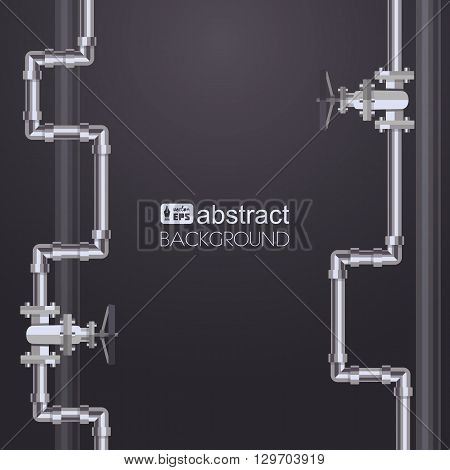Abstract vertical background with flat designed pipeline. Concept for web newsletters water, wastewater or oil pipeline industry. Vector illustration.
