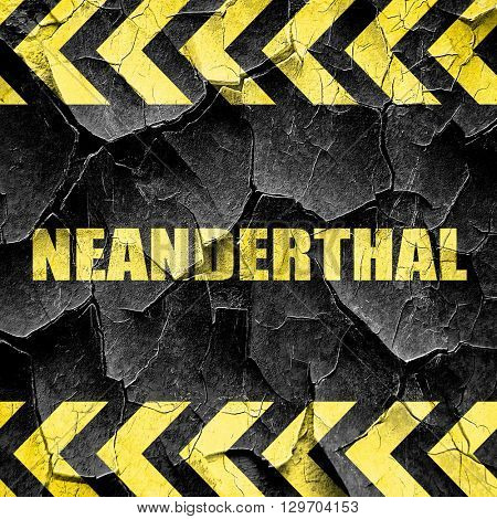 neanderthal, black and yellow rough hazard stripes
