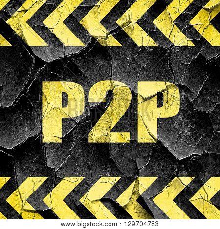 p2p, black and yellow rough hazard stripes