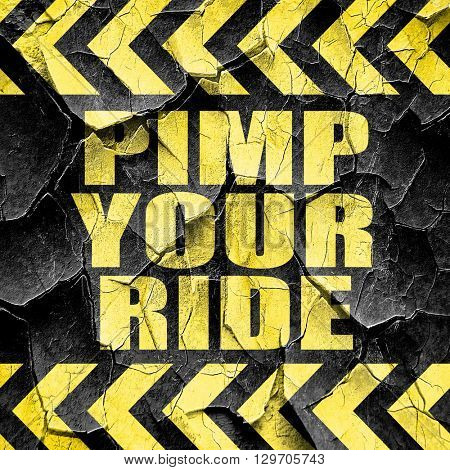 pimp your ride, black and yellow rough hazard stripes