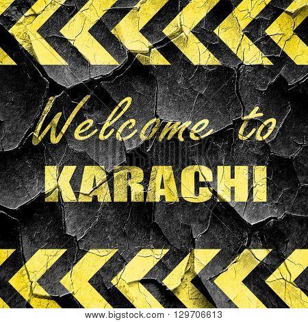 Welcome to karachi, black and yellow rough hazard stripes