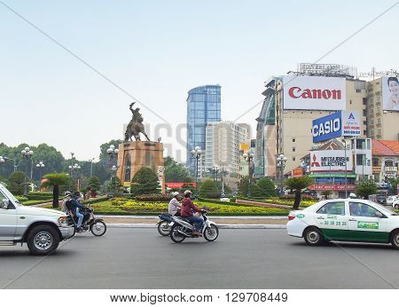 Ho Chi Minh City Vietnam - March 7 2013 : Tran Nguyen Han statue locate at Quach Thi Trang traffic circle before Ben Thanh market the ancient statue existed 1975 at center of city Viet Nam