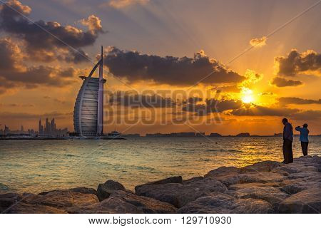 Burj Al Arab And Maarina At The Sunset, Dubai