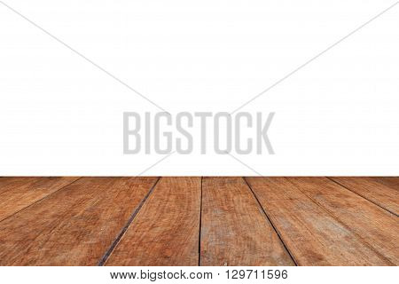 Perspective brown wood on white background, stock photo