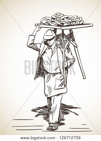 Sketch of Man carrying turkish street food bagels on his shoulder, Hand drawn illustration