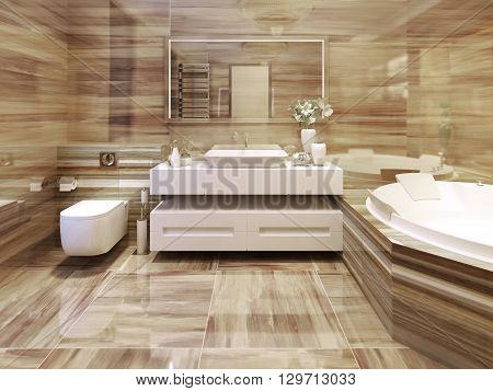 Bathroom art deco style, snowy white sink console and large mirror. 3d render