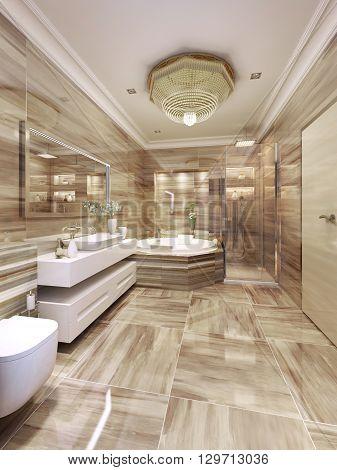 Modern bathroom design. Beige ceramic tile flooring and walls. 3d render