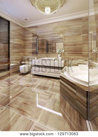 Modern bathroom with access to sauna. 3d render