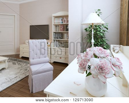 Renaissance dressing corner, white glass table with upholstery chair and lamp. 3d render