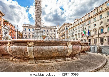 Close up of fountain located in Piazza Colonna next to the Column of Marcus Aurelius. The square is located in Via del Corso, close to Montecitorio and the Pantheon. Rome, Lazio, Italy.