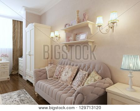Classic interior of bedroom with upholstery sofa, sconces. 3d render