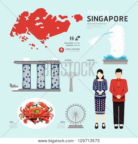 singapore Flat Icons Design Travel Concept Vector