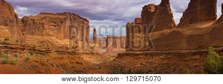 Large Pano Panoramic Park Avenue view of Arches National Park scenic landscape view red rock