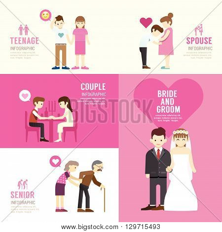 Family people flat design with icons concept infographic lovevector illustration