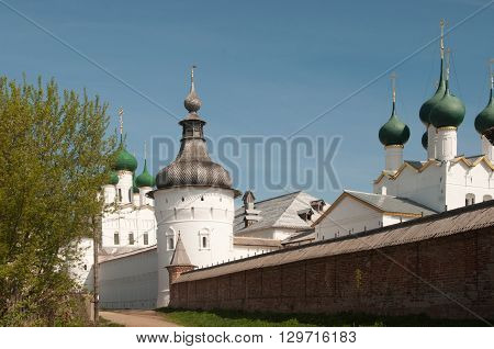 Rostov the Great in spring view to the kremlin The Church Of St. John The Evangelist and The Church Of St. Gregory The Theologian. The Golden Ring of Russia