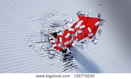 3d illustration of arrow break through wall