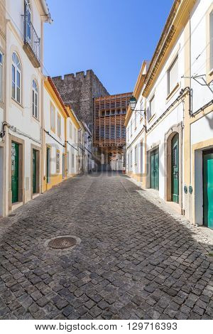 Image of the street that leads to the Portalegre city castle entrance. Alto Alentejo, Portugal.