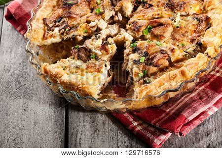 Slice Of Tart With Chicken Amd Mushrooms