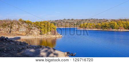 The artificial lake created by the Povoa e Meadas Dam. Castelo de Vide, Alentejo, Portugal.