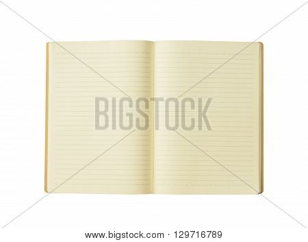 opened blank book on over white background