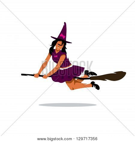 Young girl in fancy dress witch flying on a broomstick isolated on a white background