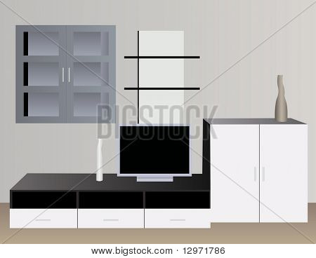 white interior with tv vector