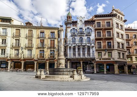 Teruel Spain - March 11 2016: Famous bull statue on the Plaza del Torico in Teruel Aragon Eastern Spain.
