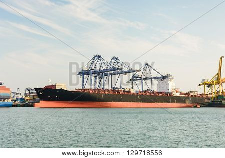 Container Ship In The Harbor Of Leamchabang On Afternoon