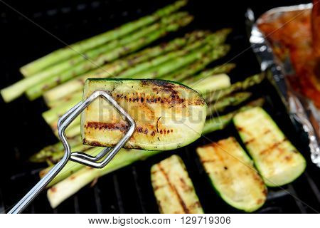 Grilled Zucchini And Asparagus On Barbecue