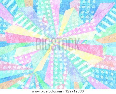 Pop art design. Geometric repeat abstract patternmade out of triangular facets in multicolor light pale shades with quirky stripes and polka dot fills. Contrasting fashionable polygonal backdrop.