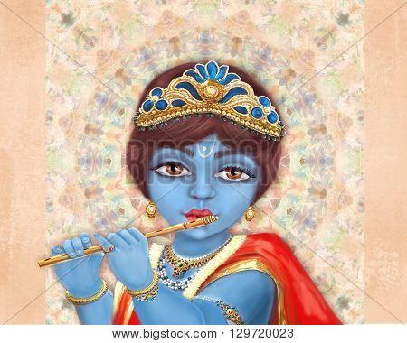 Illustration of hindu deity Shri Krishna playing the flute. Happy Janmashtami.