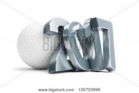 golf ball 2017 3D rendering on a white background