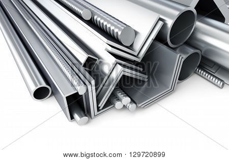 metal pipes angles channels squares. 3D rendering on a white background