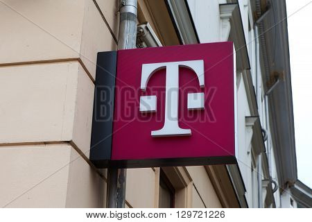 Bucharest, Romania, May 4, 2016: T-Mobile logo. T-Mobile International AG is a German holding company for Deutsche Telekom AG's various mobile communications subsidiaries outside Germany.