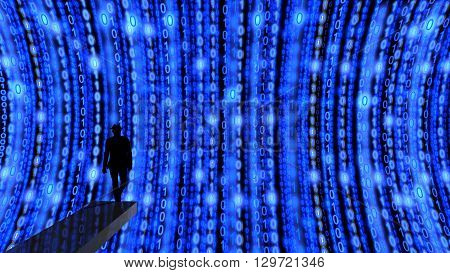 Elite hacker on springboard ready to dive into a stream of data streams in blue 3D illustration