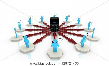 Circular network with platforms and people standing on them chatting all connected to a central supercomputer 3D illustration Big Data computing concept