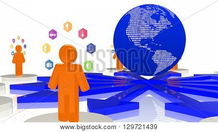 Circular network with platforms and people standing on them surrounded bu IOT icons all connected to a central globe 3D illustration internet of things concept