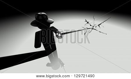 Black hat hacker piercing the screen with a rapier showing cracks 3D illustration security breach concept poster