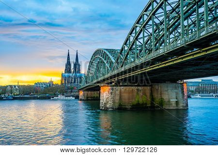The Sunset With Cologne Cathedral In Cologne, Germany
