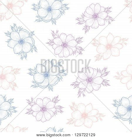 Floral seamless pattern of flower anemone in colors of 2016, Flower seamless pattern for card, mothers day, wedding, birthday, textile, web, wallpaper, wrapping, Vector flower