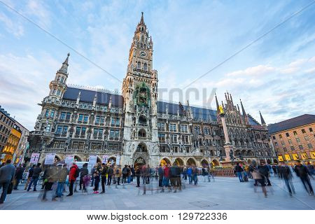 The Marienplatz In The City Centre Of Munich, Germany