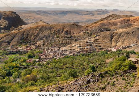 Village of assaka in the Anti-Atlas mountains in Morocco.