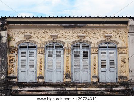The ancient building Sino-Portuguese architecture style in Phuket Thailand