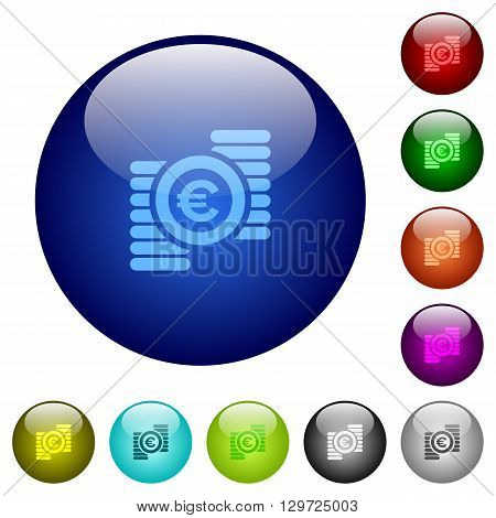 Set of color euro coins glass web buttons.