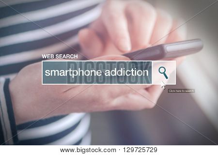 Web search bar glossary term - smartphone addiction definition in internet glossary.