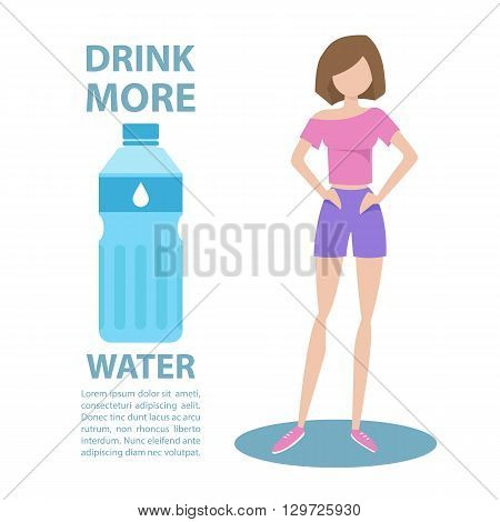 Sporty young woman in sportswear with inscription Drink more water. Healthy lifestyle concept. Motivation poster template. Bottle of water. Flat style vector illustration.