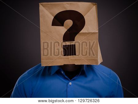 Businessman with a paperbag on his head